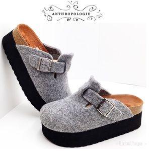{Sixty Seven} Grey Felt Platform Mules - Spain